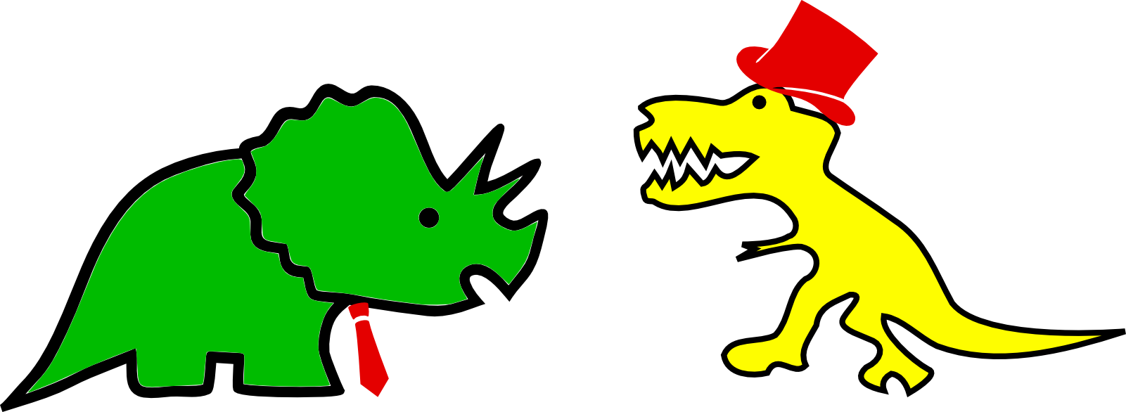 Fancy-dressed but crudely drawn dinosaurs